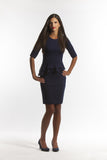 The Angled Peplum Dress with Elbow Length Sleeves