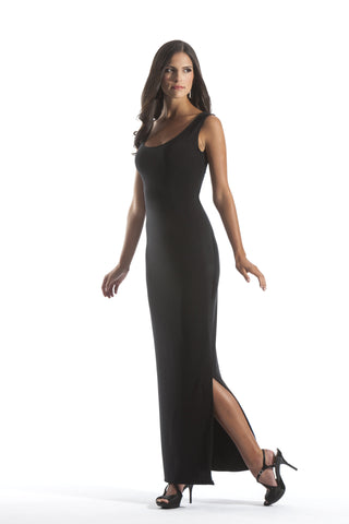 Black Sleeveless Scoop Neck Floor Length Maxi Dress with Side Slit