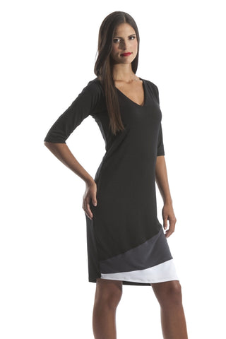 Relaxed Fit Color Block Dress with Elbow Length Sleeves