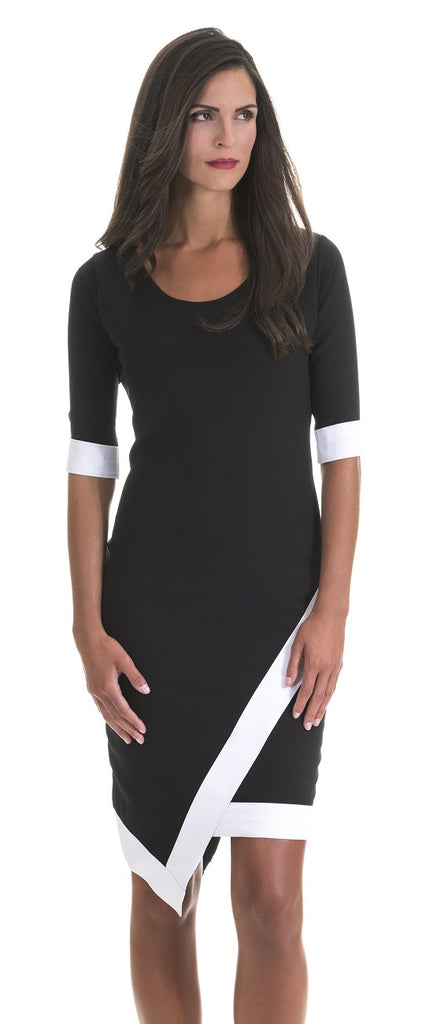Cocktail Dress Madeline Black And White Trim Dress Perlae Couture