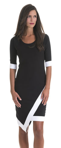 Madeline Black and White Trim Dress