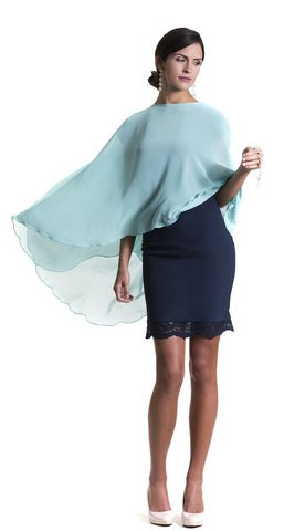 Mint Green Chiffon Glamour Cape