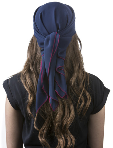 Navy Chiffon Care Scarf with Berry Red Trim