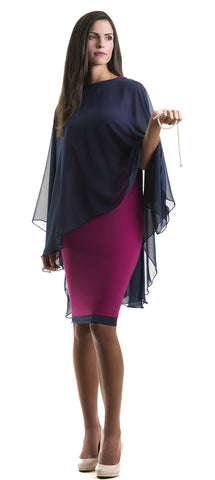 Navy Blue Chiffon Glamour Cape