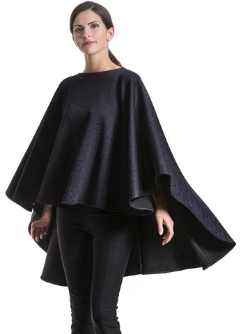 Nicole Navy Quilted Poncho Cape