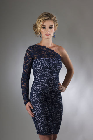 This is a navy lace and white cocktail dress with a one shoulder design and a single lace sleeve