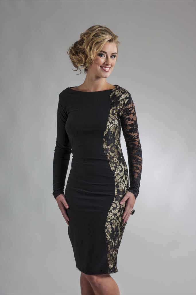 Gold and Black Lace Cocktail Dress|Long Sleeves|Perlae Couture