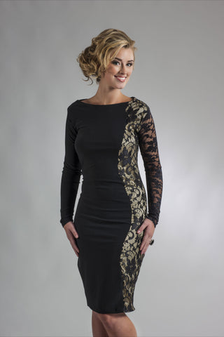 This is a black and gold cocktail dress featuring long sleeves, gold stretch silk and black stretch lace down one side