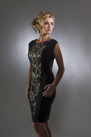 This is a black and gold cocktail dress with stretch silk and lace