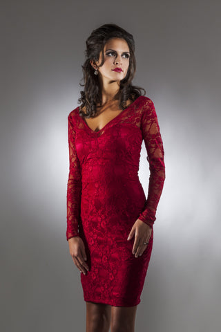 This is a cranberry lace cocktail dress with long sleeves and a v-neck neckline