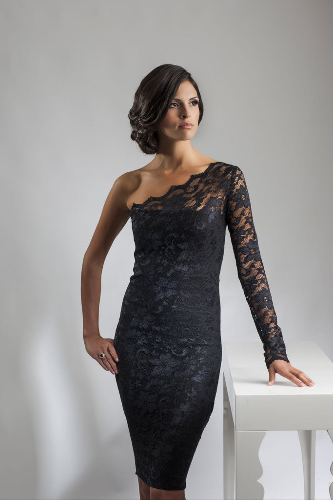 Black Lace Neckline Dress