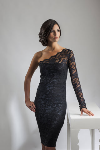 This is a one shoulder black lace cocktail dress with a single lace sleeve and scalloped lace neckline