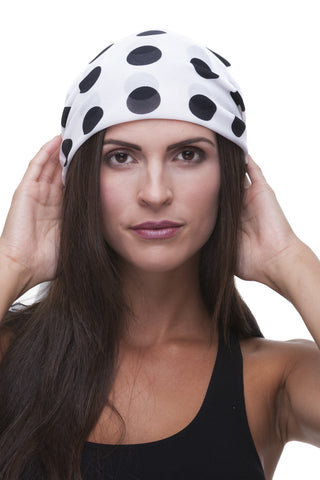 White and Black Polka Dot Care Scarf