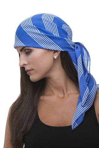 Blue and White Stripe Care Scarf