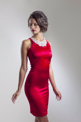 Red Silk Cocktail Dress with Applique