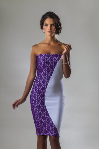 Strapless White and Purple Lace Color-Blocking Dress