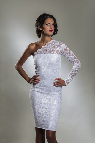 One Shoulder White Lace Cocktail Dress