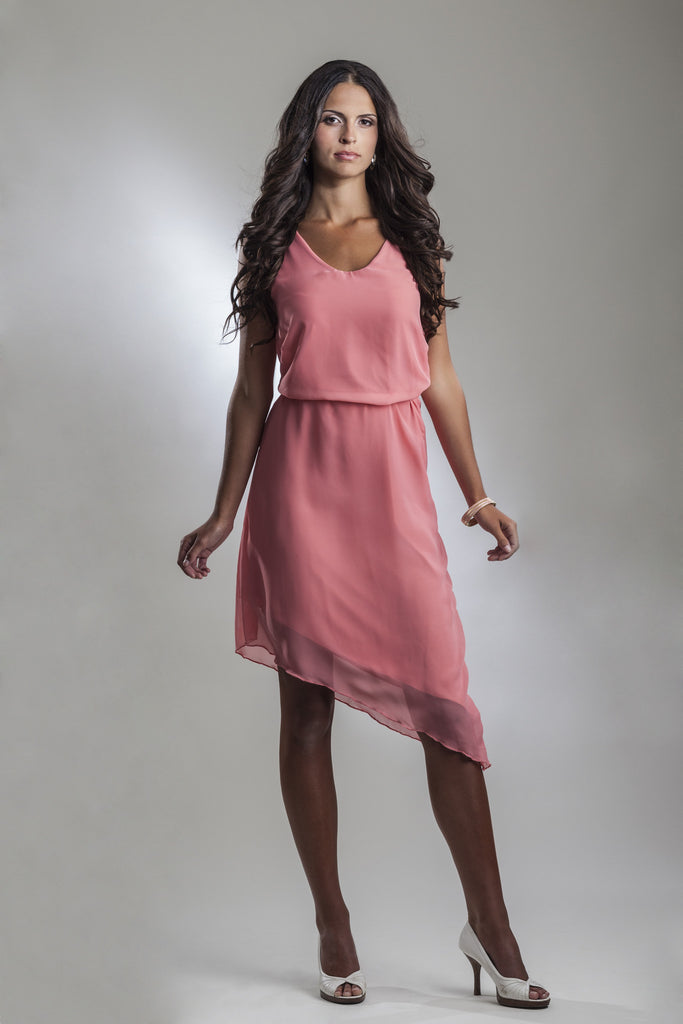 4a33d03302a6 This is a sleeveles v-neck light pink coral chiffon cocktail dress with an  angled