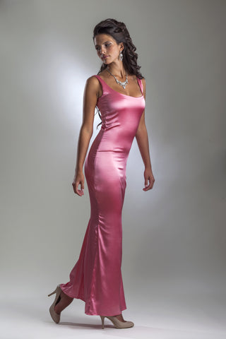 This is a pink floor length stretch silk evening dress with sleeveless design and scoop neck