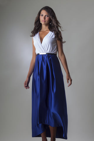 This is a long blue and white evening dress with a v-neck neckline and no sleeves