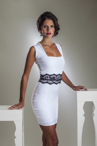 White Cocktail Dress with Black Lace Belt