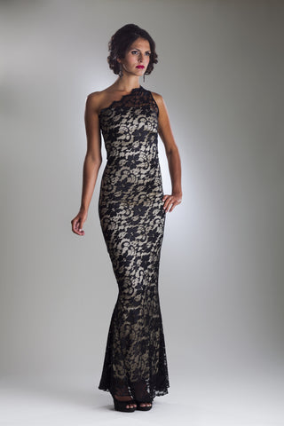 This is a black lace and gold silk sleeveless one shoulder floor length evening dress with a scalloped lace neckline