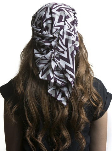Purple and White Chevron Print Care Scarf