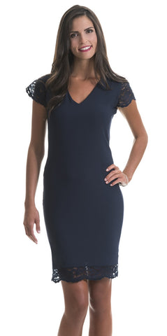 Rosalyn Navy Blue Lace Trim Dress
