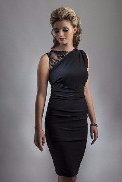 Black Lace Shoulder Cocktail Dress