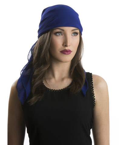 Royal Blue Chiffon Head Scarf
