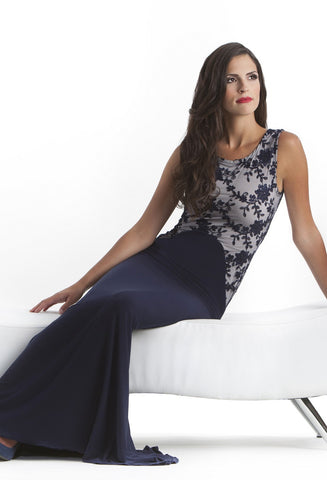 Grace Full Length Gown with Flowing Skirt and Lace Top
