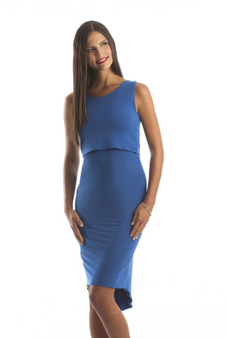 Royal Blue Sleeveless Crop Top Cocktail Dress with High Low Bottom