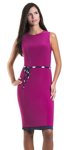Virginia Fuchsia Dress with Polka Dot Belt