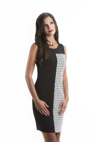 Brooklynn Black and White Sleeveless Dress