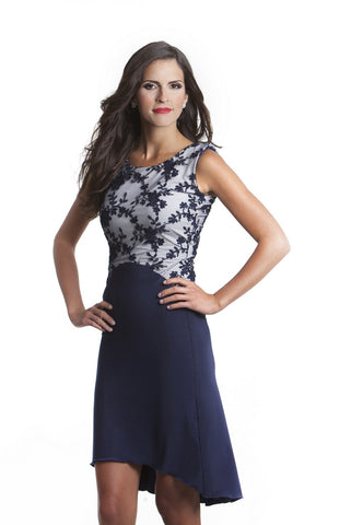 Ella High Low Navy Blue Dress with Lace Top
