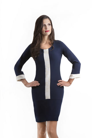 Felicity Flared Sleeve Navy and Beige Dress