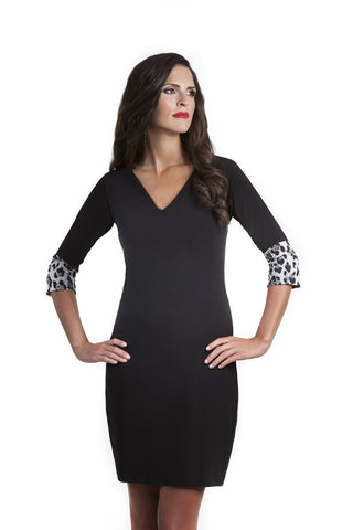 Lola Little Black Dress with Leopard Print Cuffs