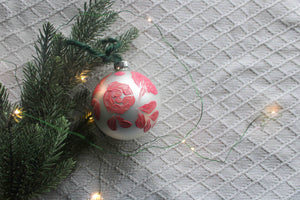 Pink Abstract Floral Holiday Ornament