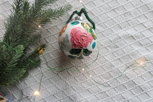 Abstract Floral Holiday Ornament