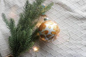 Gold Floral Holiday Ornament