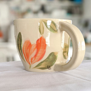 Custom Floral Hand Thrown Mug