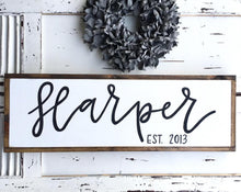 Load image into Gallery viewer, Last Name Family Sign Established Est. Wooden Family Sign