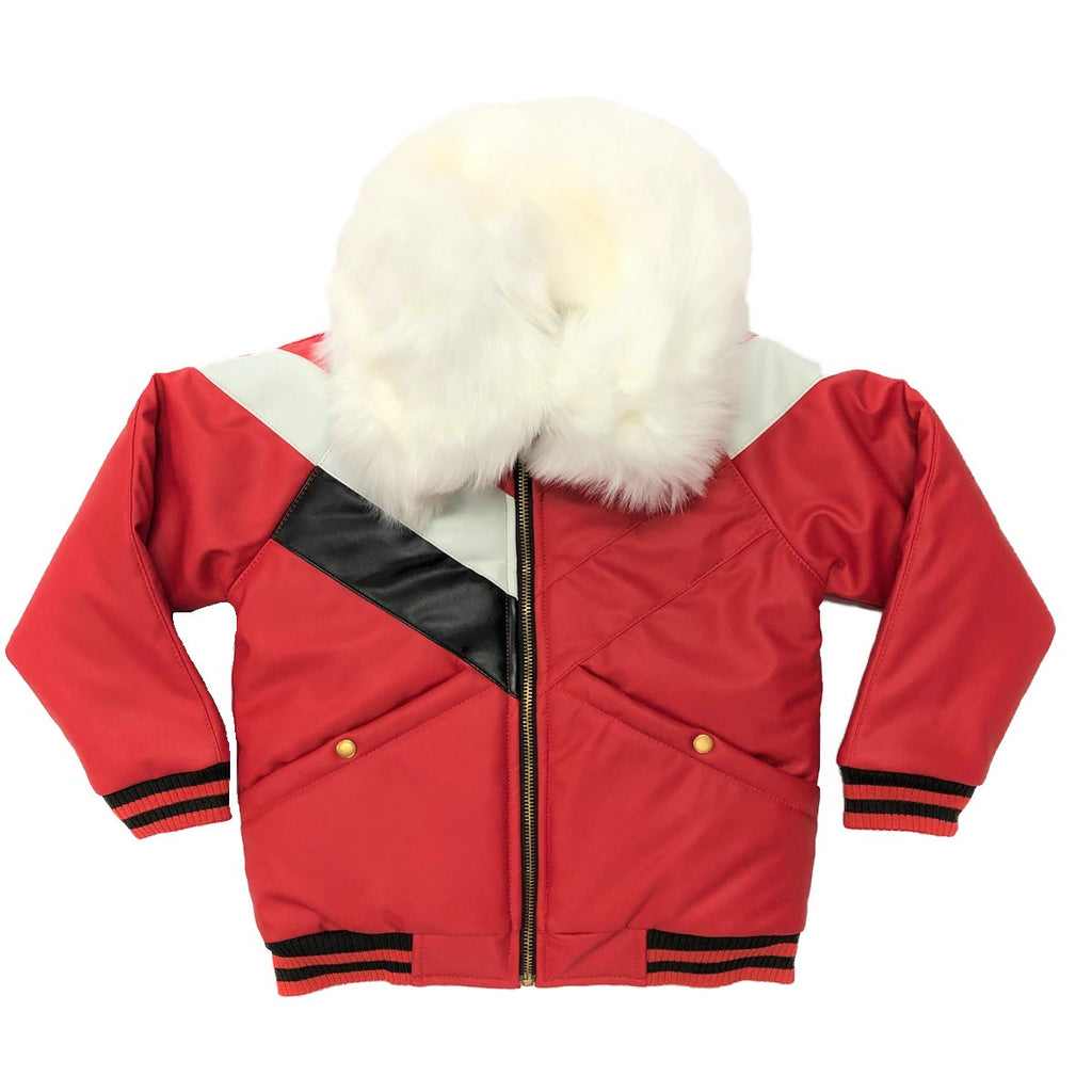 Crimson II PLeather Kids Fur Jacket