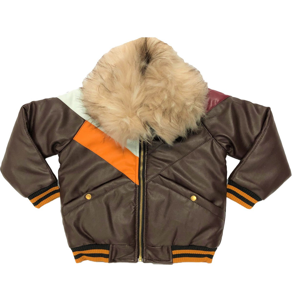 Caramel Leather Kids Fur Jacket - Elite Premium Denim