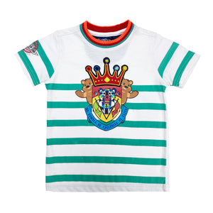 Teal Stripe Crown Kids Shirt - Elite Premium Denim
