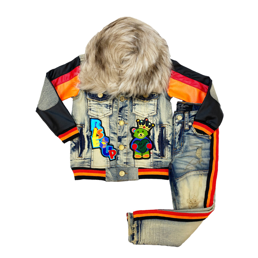 Kids Motorsport II Premium Denim Jacket Set - Elite Premium Denim