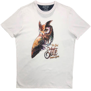 Exclusive Owl White Tee - Elite Premium Denim