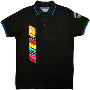 Colorful Patch Black Polo - Elite Premium Denim