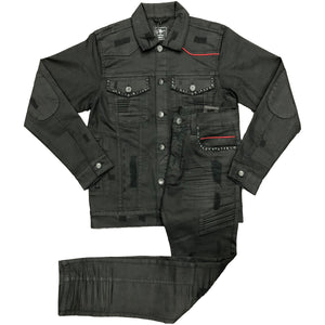 Black Coated Denim Set - Elite Premium Denim