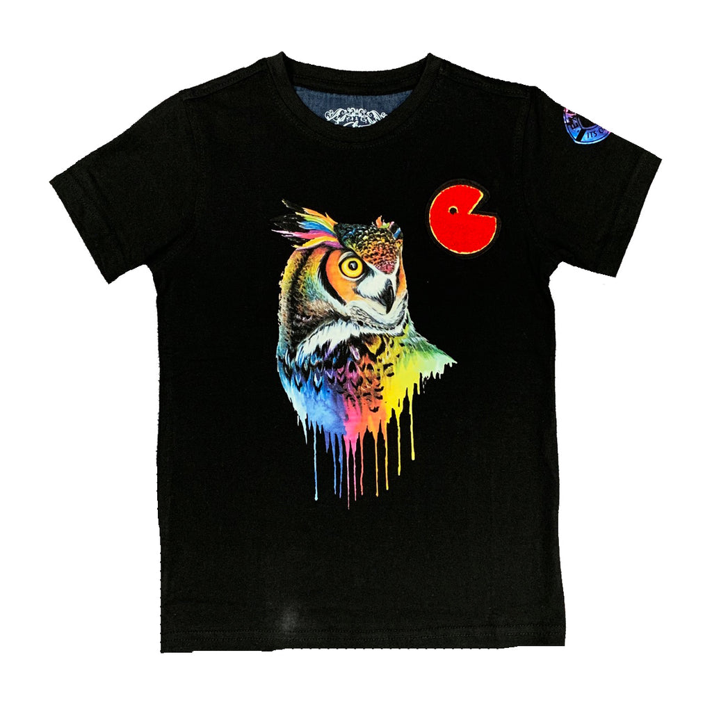 Owl Color Drip Kids Tee Black